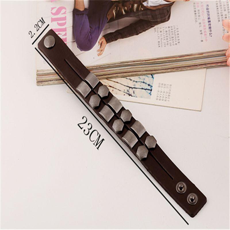 Wristband Adjustable Leather Bracelet New Fashion Unisex Geometric Aloy Punk Rock Cowhide Bangle Cuff - 3