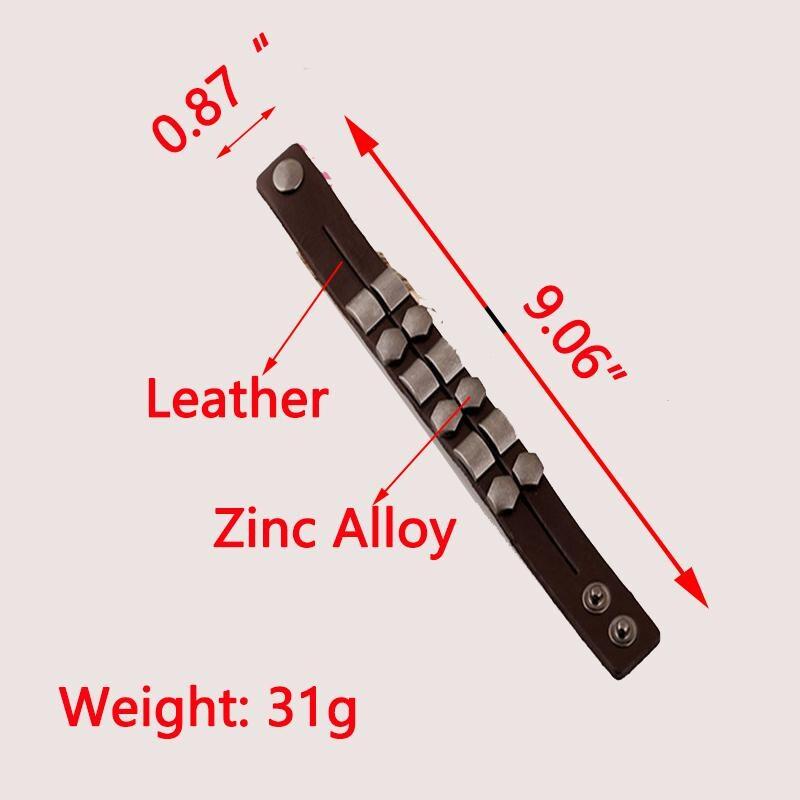 Wristband Adjustable Leather Bracelet New Fashion Unisex Geometric Aloy Punk Rock Cowhide Bangle Cuff - 4