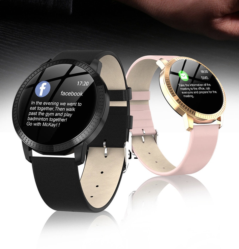 IP67 Waterproof Smart Watch Fitness Tracker Heart Rate Blood Pressure Monitor Tempered Mirror Sliver Pink - 3