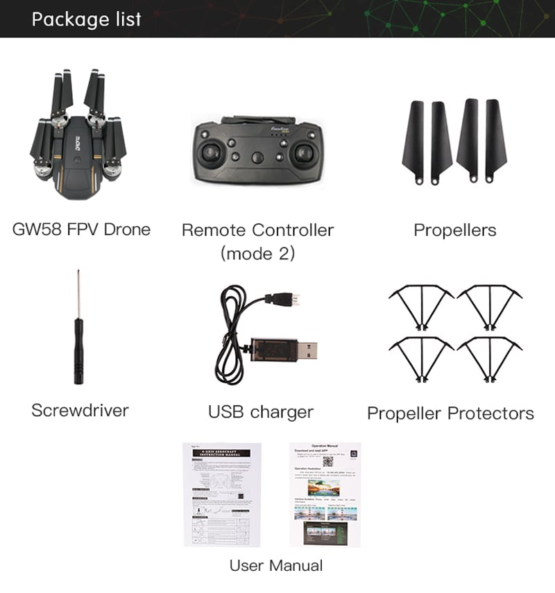 GW58/XT-1 Folding Selfie Drone with Camera HD Headless Mode Hover Quadcopter Wifi FPV RC Quadrocopter - 30W - 5