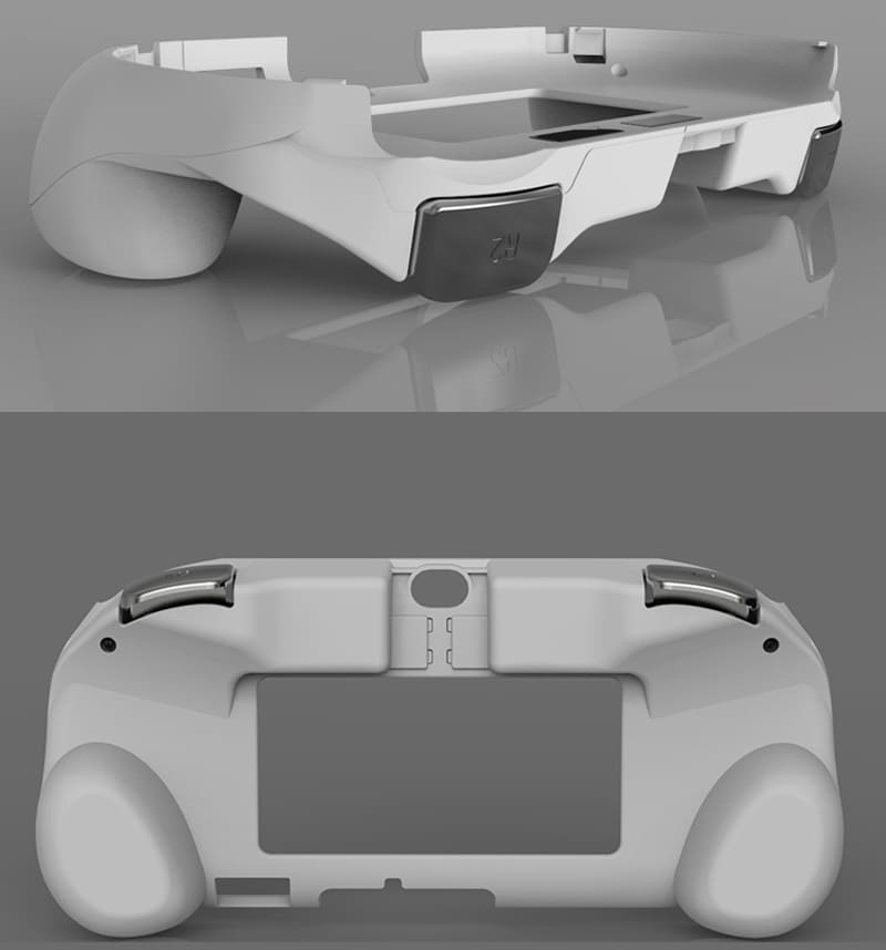 L2 R2 Hand Grip Handle Case & L3 R3 Trigger Button Touchpad White For PS VITA 2000 - 5