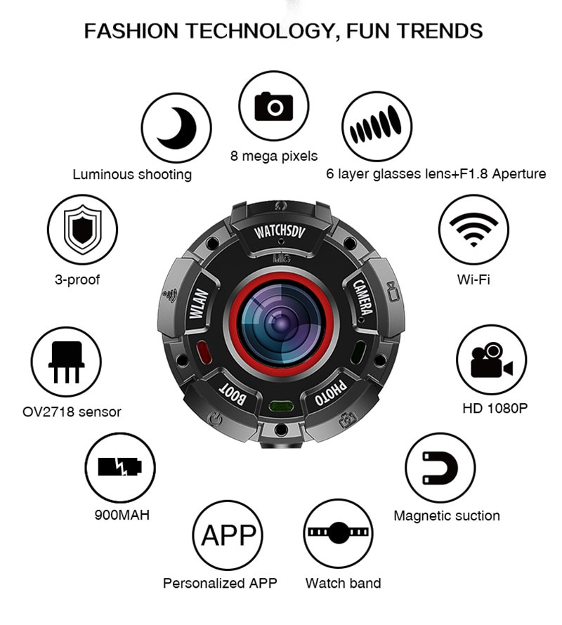 Wearable and Detachable Smart Sports Camera - 1080P, APP, Wifi, Magnetic Base, Waterproof, Hunting Camera - 11