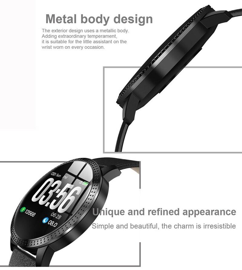 IP67 Waterproof Smart Watch Fitness Tracker Heart Rate Blood Pressure Monitor Tempered Mirror Sliver Black - 8