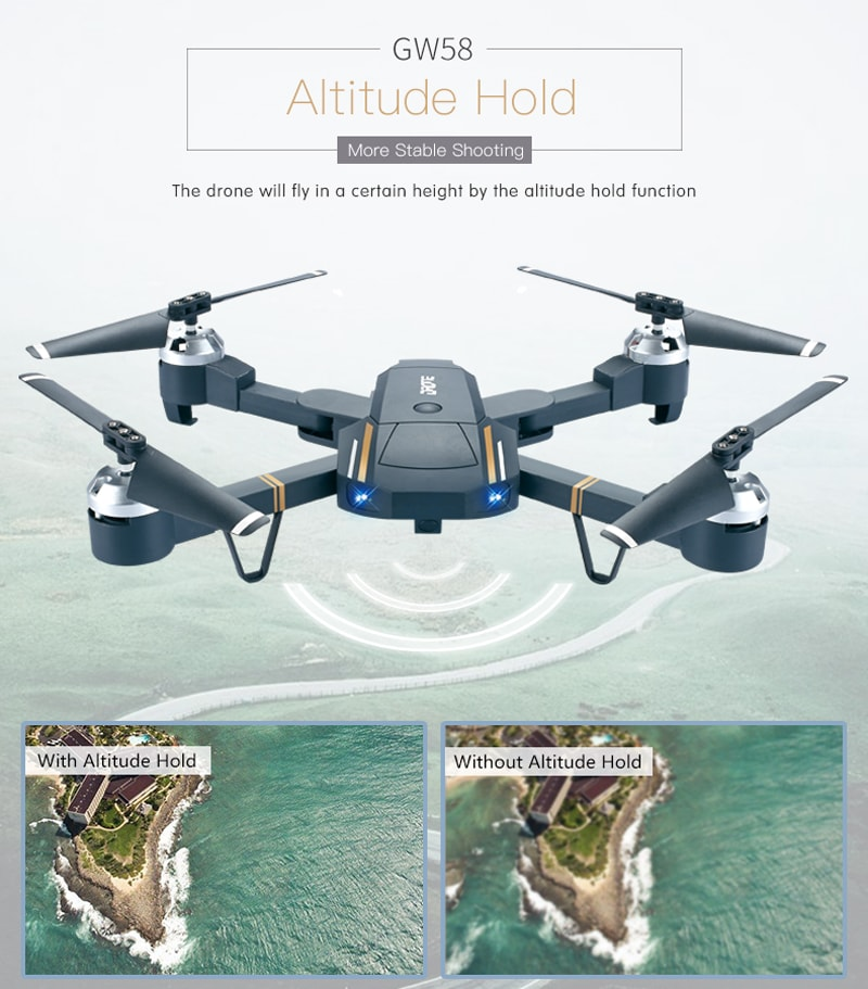 GW58/XT-1 Folding Selfie Drone with Camera HD Headless Mode Hover Quadcopter Wifi FPV RC Quadrocopter - 30W - 4
