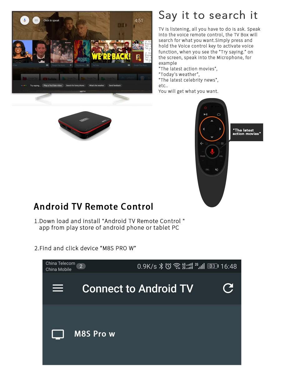 Mecool M8S PRO W TV Box - 2.4G, 2GB RAM, 16GB ROM, Android, MAG625X 4K VP9 - Ordinary RC,AU Plug - 4