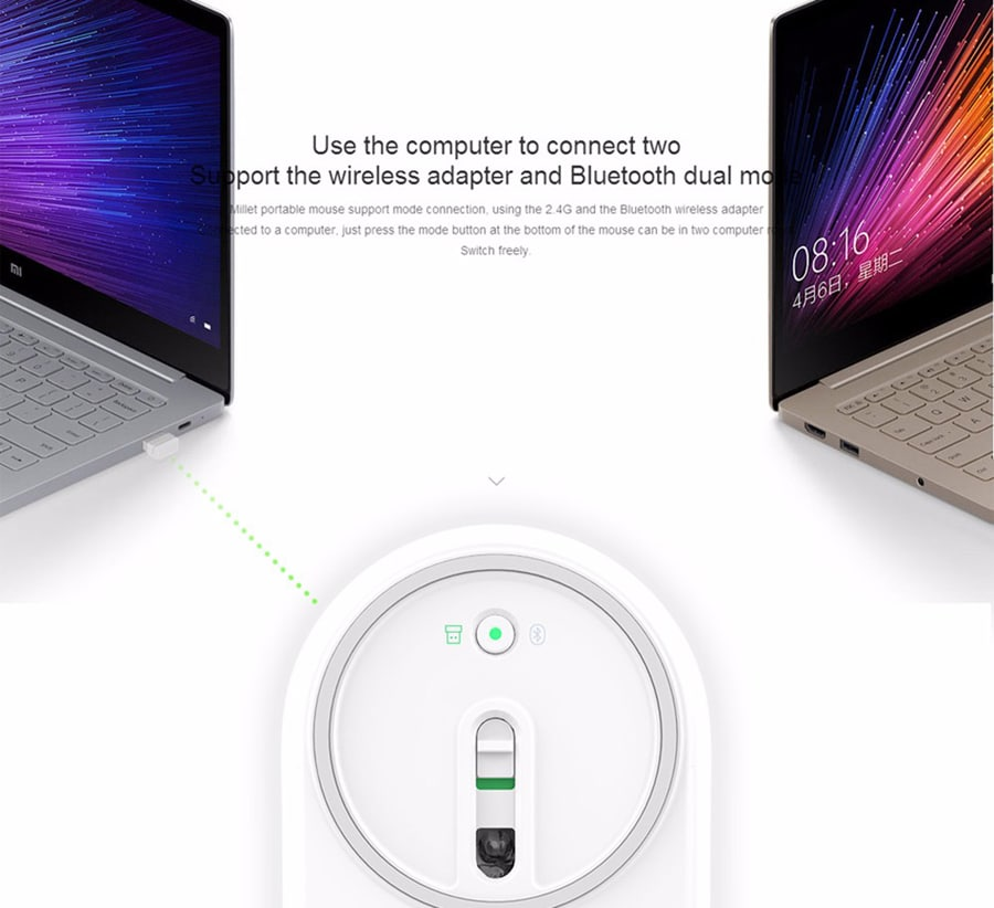 Original Xiaomi Mi Wireless Mouse Portable Game Mouses Aluminium Alloy ABS Material 2. 4 G WiFi Bluetooth 4. 0 Pink - 7