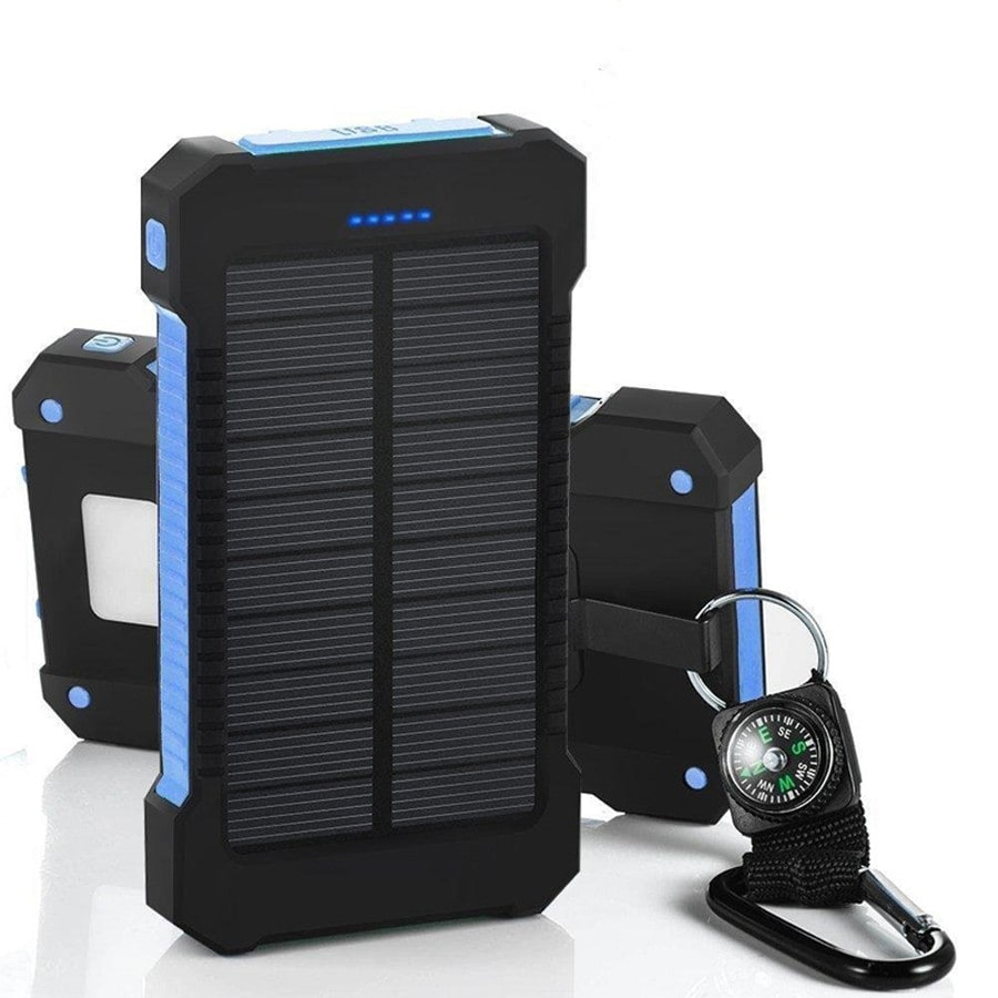 Waterproof Solar Charger Powerbank with LED Light - Blue - 3