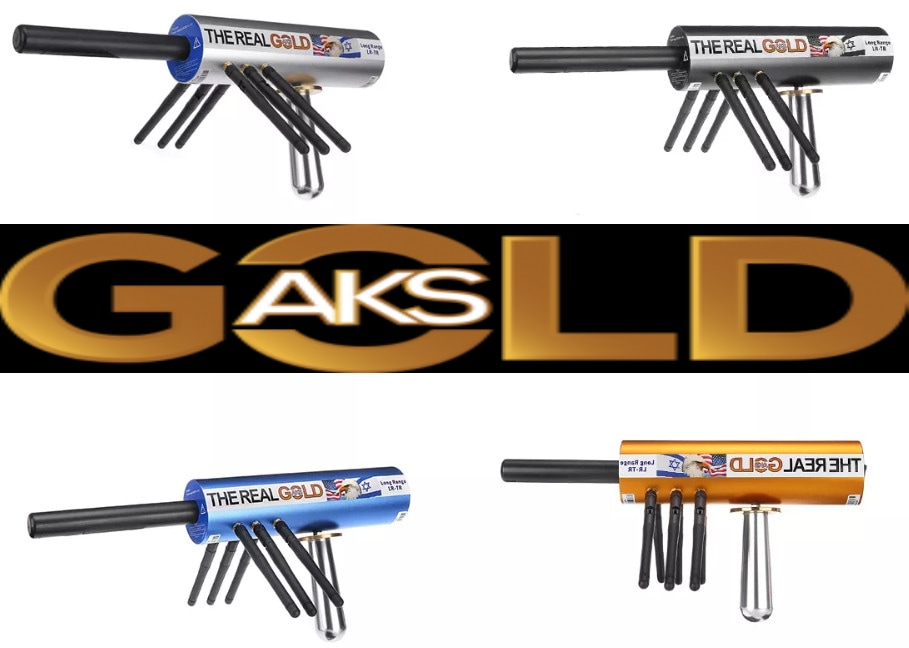 Original The Real Gold AKS Handhold Pro Metal/Gold Detector 6000M Range 6 Antenna Diamond Finder w/Case - Gold - 1