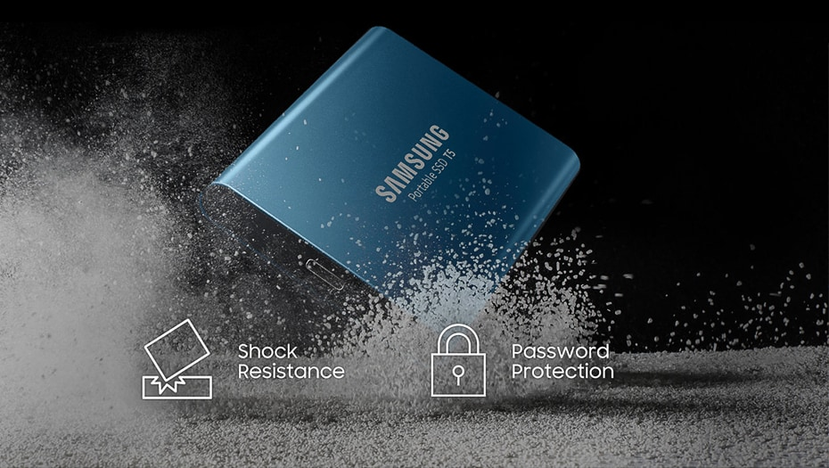 Samsung T5 Portable SSD Hardware with USB 3.1 Encryption - Blue, 250GB - 3