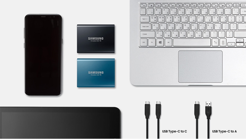 Samsung T5 Portable SSD Hardware with USB 3.1 Encryption - Blue, 250GB - 8