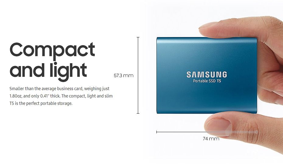 Samsung T5 Portable SSD Hardware with USB 3.1 Encryption - Blue, 250GB - 4