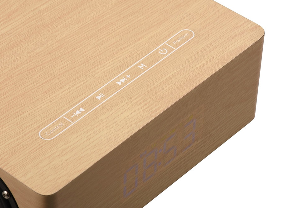 Wolfsay Wooden Bluetooth Alarm Clock Speaker 3600mAh Battery Support Audio Input TF Card/U-disk Play - 3