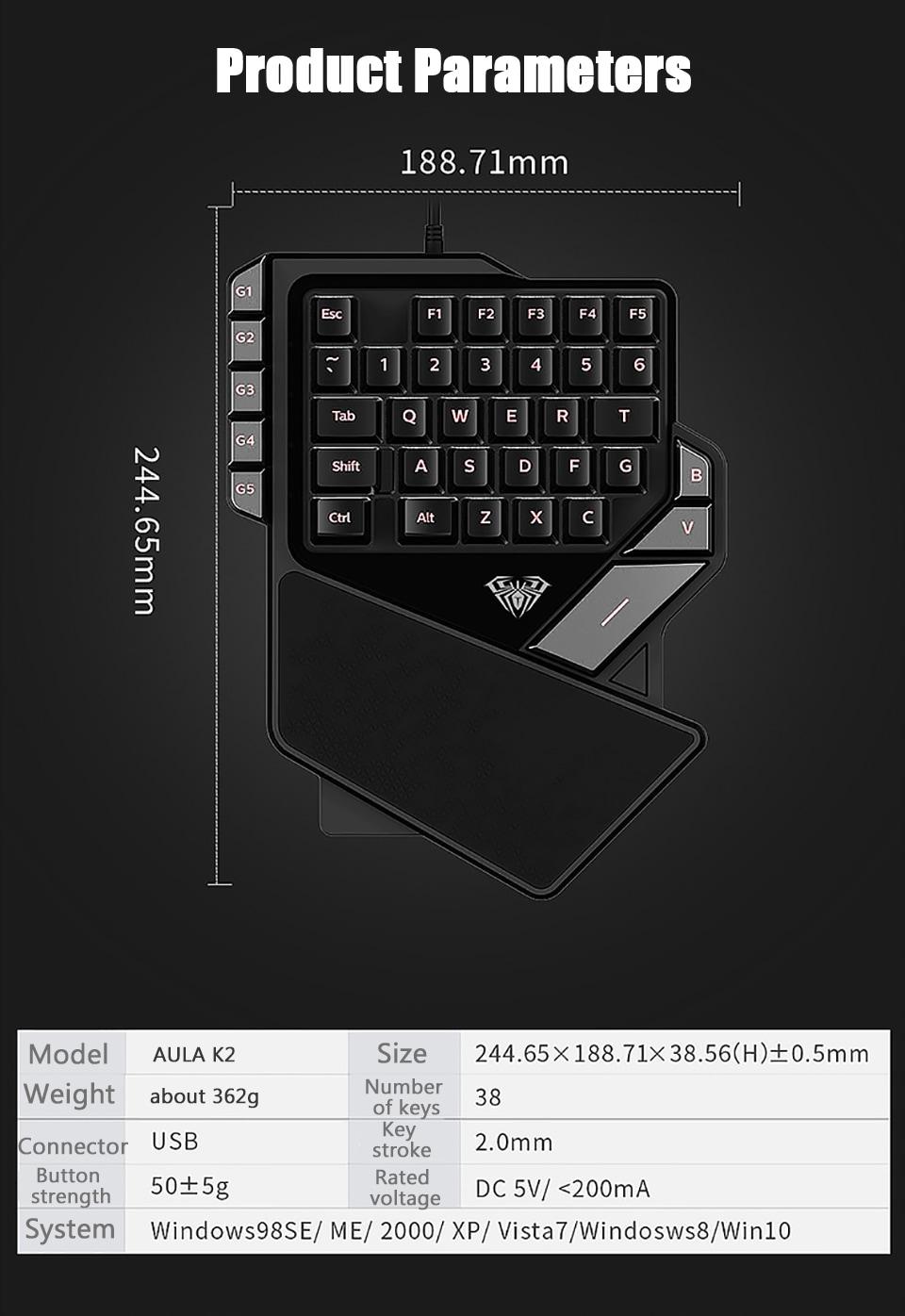 AULA One-Handed Mini Gaming Keyboard Backlight 27 keys Anti-Ghosting - 11