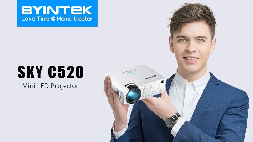 BYINTEK Mini Projector C520 T6 with Portable LED Proyector for Cell Phone / 1080P / 3D / 4K - 2