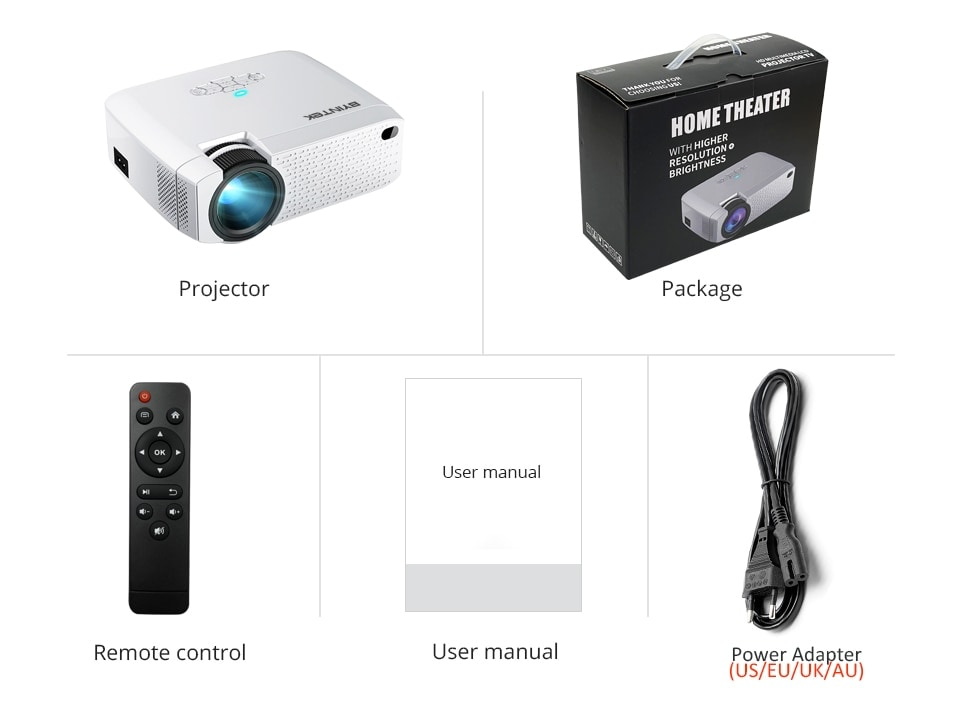 BYINTEK Mini Projector C520 T6 with Portable LED Proyector for Cell Phone / 1080P / 3D / 4K - 11