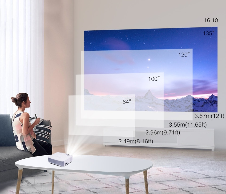 BYINTEK Mini Projector C520 T6 with Portable LED Proyector for Cell Phone / 1080P / 3D / 4K - 4