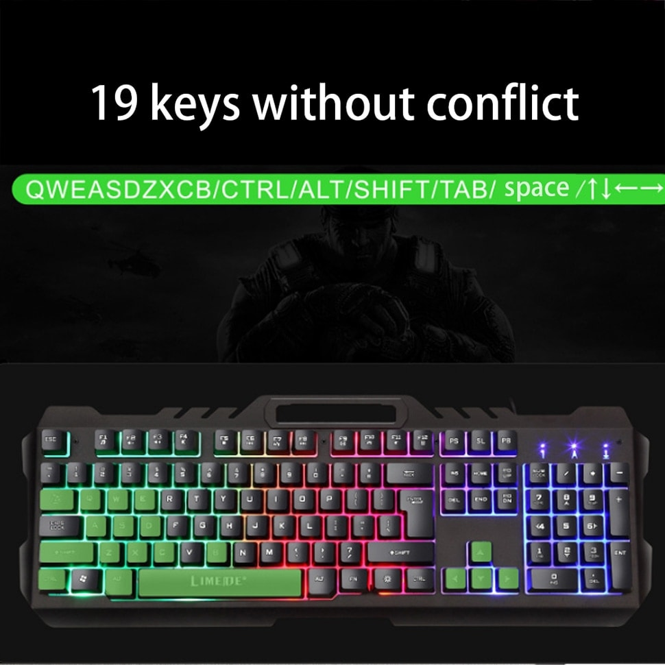 Gamers Mouse Keyboard Sets and Phone Holder Metal Mechanical Feel Wired Keyboard LED Gaming Black - 3