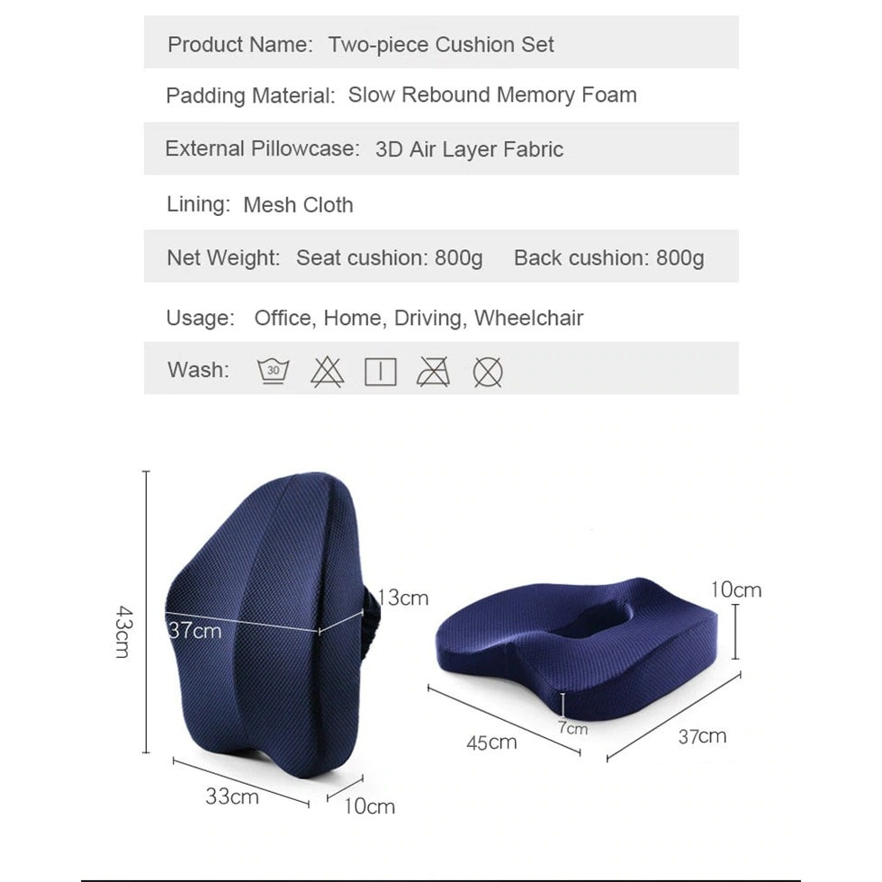 Medical Pillow Orthopedic Coccyx for Chair Support Gaming Chair Black & blue - 7