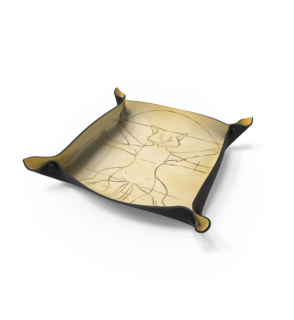Dice Tray For RPG Games - Vitruvian Cat - 1