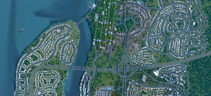 City from Top view in game